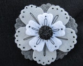 Flower Hair CLip, Brooch, Pin in Black, White, and Gray. Hand Embroidered Felt, Gifts for Women