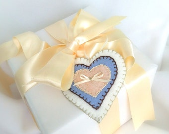 Gift Tag, Heart, Weddings, Bridal, Baby , Personalized , Felt Favors ( 1 ) Sky Blue w/ Blush Pink