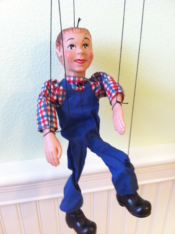 Vintage  Puppet  String Toy , Country Boy Marionette 1950s Howdy Doody like