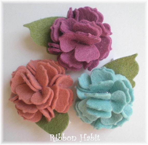 Felt Flower Hair Clips or Headband Set in Blue, Plum Purple, Rose - Wool Felt Carnations for Girls, Toddlers, Baby, Adults