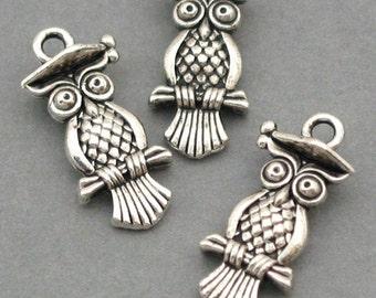 Owl Charms Antique Silver 6pcs pendant beads 10X21mm CM0022S