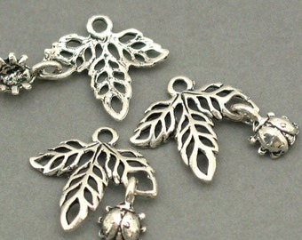 Leaf Ladybug Charms Antique Silver 6pcs pendant beads 17X17mm CM0075S