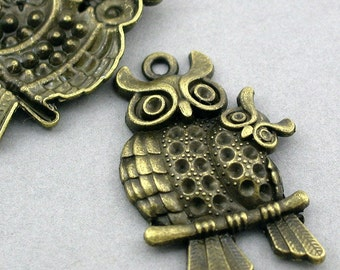 Owl Charms Mother and Baby Owls Antique Bronze 2pcs pendant beads 28X43mm CM0060B