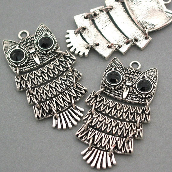 Owl Charms Antique Silver 2pcs large pendant beads 25X48mm CM0003S