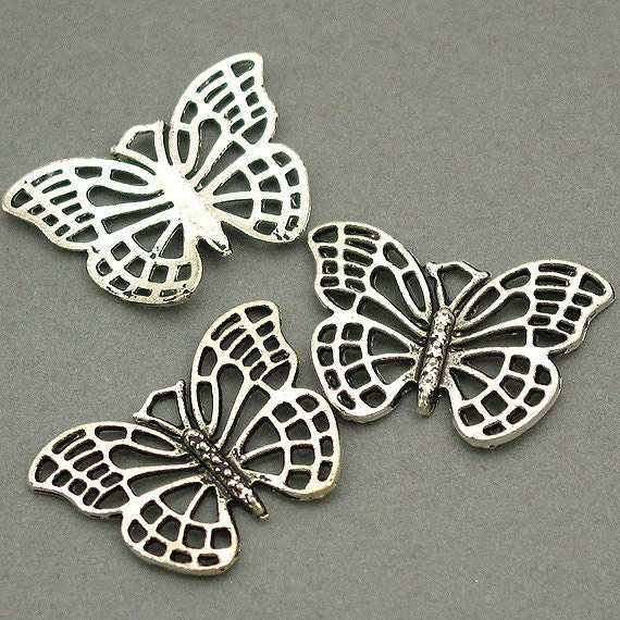 Butterfly Charms Antique Silver 6pcs pendant beads 18X26mm CM0029S