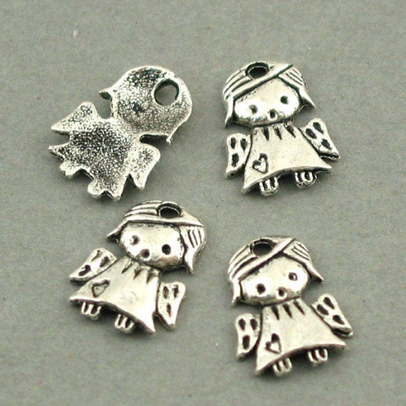 Girl Angel Charms Antique Silver 12pcs pendant beads 10X13mm CM0193S