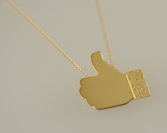 Facebook LIKE Necklace , Gold Geekery Jewelry , Thumb Up