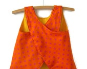 Ecofriendly Reversible baby dress jumper pinafore size 1, upcycled fabrics orange pink polka dots bright yellow red teddy bears - BananaOrangeApple