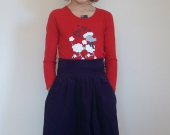 Purple girls winter skirt, cord skirt, plum wraparound pinwale corduroy wrap skirt, size 8 10 12