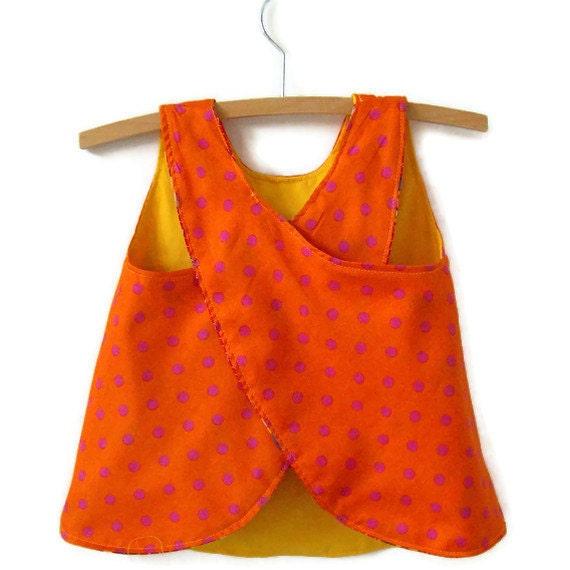 Ecofriendly Reversible baby dress jumper pinafore size 1, upcycled fabrics orange pink polka dots bright yellow red teddy bears