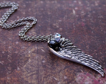 Angel Wing Necklace -Adorned w/ BLACK ONYX Bead and SWAROVSKI Clear Crystal- Memory, Keepsake, Meaningful Necklace by RevelleRoseJewelry