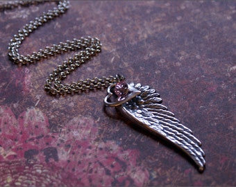 ANGEL Wing Necklace PINK SWAROVSKI Crystal, Heart Charm Unique, Chic, Girlie Gift for Friend, Wife, Mother, Sister