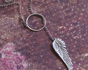Angel Wing LARIAT Necklace Silver GORGEOUS Detailed Angel Wing Pendant Adjustable 24 inch Chain HEAVENLY by RevelleRoseJewelry
