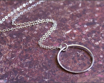 ETERNITY Circle Necklace -STERLING SILVER- Perfect Wife, Mother, Grandmother, Friend Gift -Classic, Everyday Wear- by RevelleRoseJewelry
