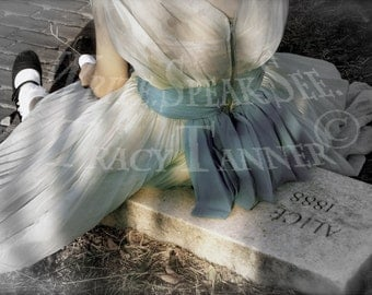 Alice In Wonderland, Blue Dress, Cemetery, Through The Looking Glass, Sunset, Bow, Headstone, Trees, Lewis Carroll, Black Mary Janes