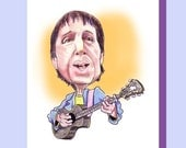 Paul Simon, Rock Star, Celebrity Art, Funny Caricature, Birthday, Greeting Card