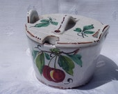 Jelly Sugar Dish Pot | Italy Bright Red Fruit Green Leaves