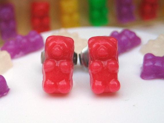 Handmade Polymer Clay Gummy Bear Earrings in Vivid Candy Shop Pink