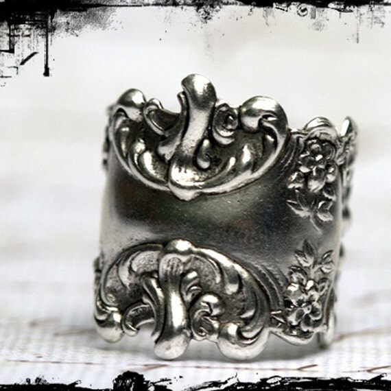 Ring Sterling Silver over Brass, Adjustable, Steampunk, Victorian vintage, Art Nouveau, Size 5 6 7 8 or larger , romantic rocker Grey Gray