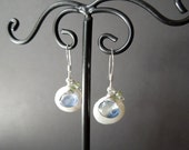 Coin Pearl Earrings with Kyanite and Peridot (D86)