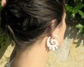 Fake Gauge Earrings Bone Earrings  Spade Spirals Tribal Earrings - Gauges Plugs Bone Horn - FG015 B G1