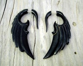Fake Gauge Horn Earrings Wings Black Angel Tribal Earrings - Gauges Black Horn - FG002 H G1