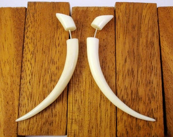 Bone Fake Gauges Earrings Bone Earrings Talon Tribal White Bone Organic - FG034 B G1