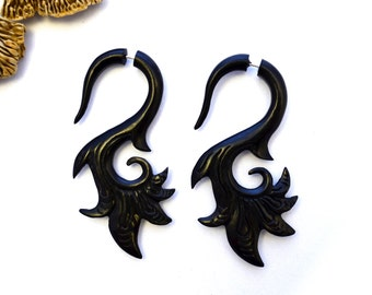 Fake Gauges Wood Earrings Flower Drops  Black Wooden Organic Earrings Natural Tribal - FG039 DW G2