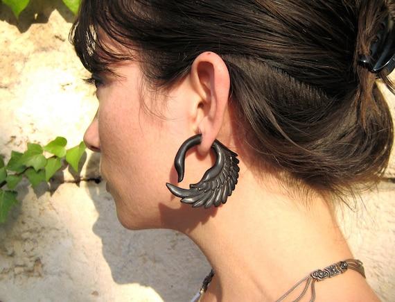 Earrings Fake Gauges Earrings Fake Plugs Black Wood Swan Tribal Earrings - Piercing Gauges Plugs Wooden - FG001 DW G1