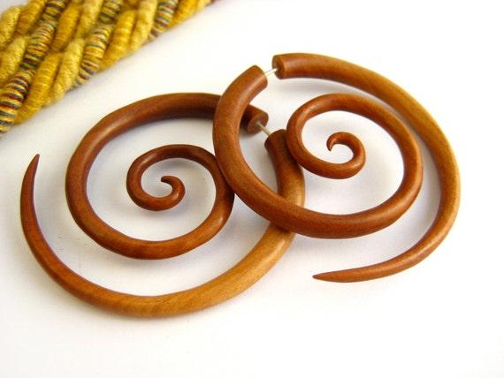 Fake Gauge Earrings Wooden Double Spiral Tribal Earrings - Gauges Plugs Bone Horn - FG029 W G1