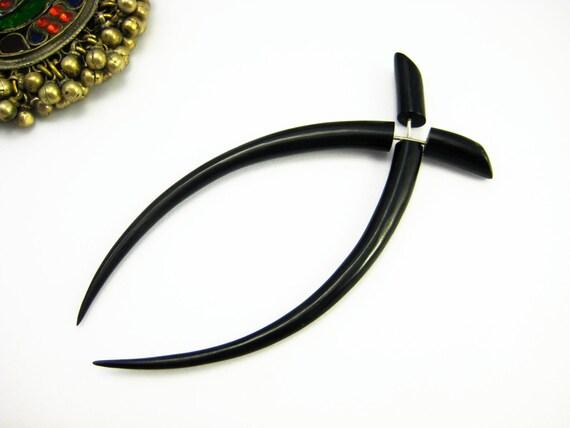 Fake Gauges Earrings Black Horn Talon Earring Tribal Organic - FG035 H G1