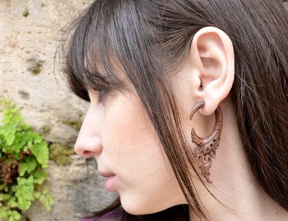 Earrings Fake Gauge Earrings Wooden Flower Circle Drops Tribal Earrings - FG004 W G1
