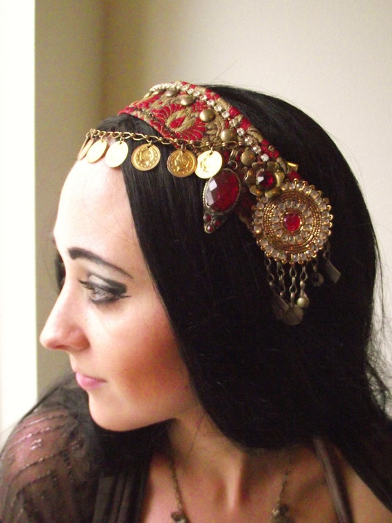 Belly Dance Headpiece- Tribal Fusion, Festival, Costume- Shimmy Shimmy Ya- Red and Gold