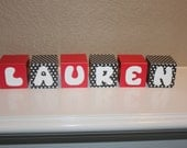 Personalized wooden blocks with letters or name, nursery decor, picture prop