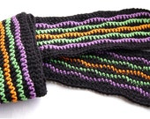 Crochet Scarf - Dark & Bright Multicolor - Thick Thin Waves
