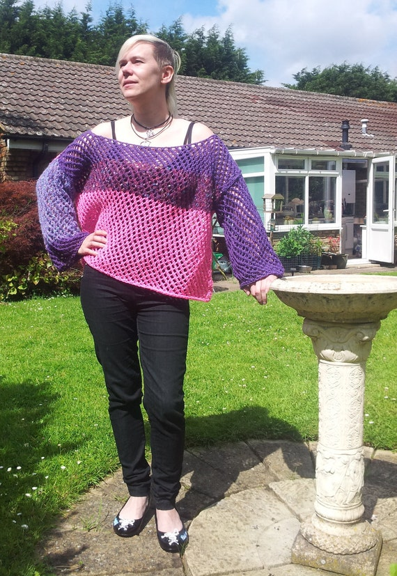 OOAK Hand Knitted Lacy Openwork Loose Fit Jumper Pink Purple & Lilac/Lavender Colour Blocks