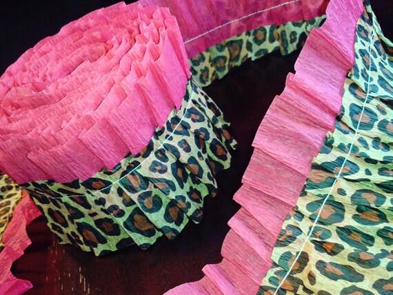 Pink & Leopard Ruffled Crepe Streamer - 10ft Garland Trim - Party Decor Supplies- Customizable - Birthday, Tween, Bachelorette