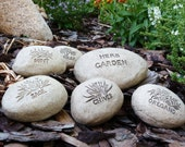 Garden Markers Engraved Herb Stones Mint, Sage, Parsley, Chives & Oregano