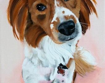 """Custom dog portrait 8""""x12"""" canvas from your photo - pet portrait"""