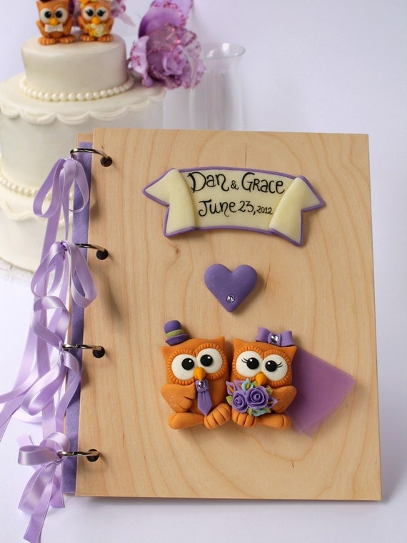 Wedding Guest book, custom wood guestbook with owl - wedding album to match with your cake topper