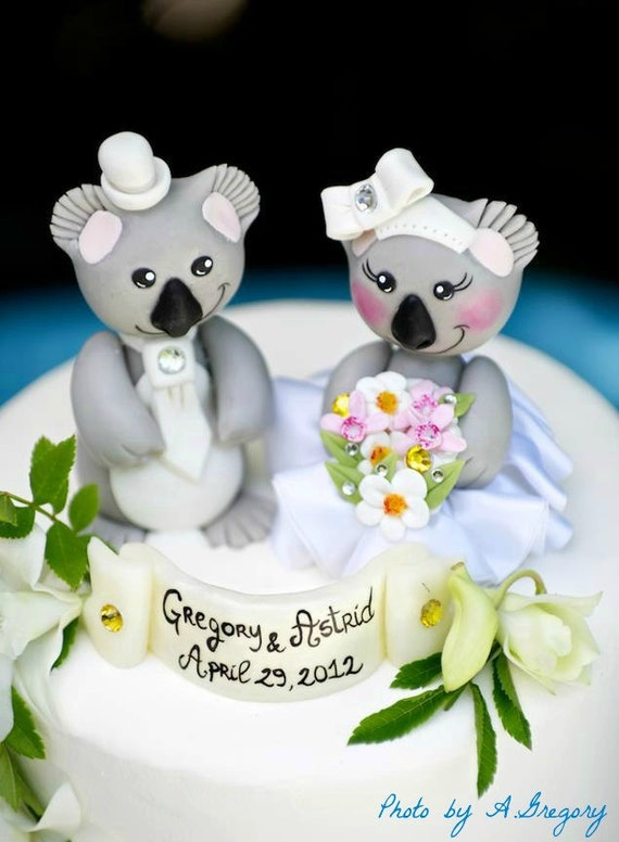 Wedding cake topper koala bride and groom with banner, love bear