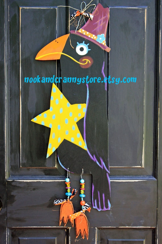Harriet the Black Crow Fall Wooden Decor its fall yall autumn painted wood vintage inspired fun blackbird crows cornfield decorations paint