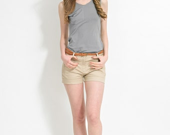 Gray Tank with Pocket - Sleeveless Top - Cotton Tank - Gray Top - Jersey Tank - Cotton Jersey - Tank Top