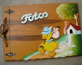Leaving Home: Vintage Baby Photo Album Hand Painted Wood Spanish Fotos Adorable Duck with Cottage Scenic