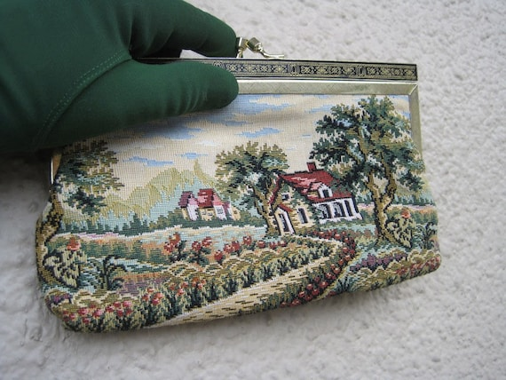Tapestry Clutch Purse with Country Home and English Garden Vintage 50s: Home Sweet Home