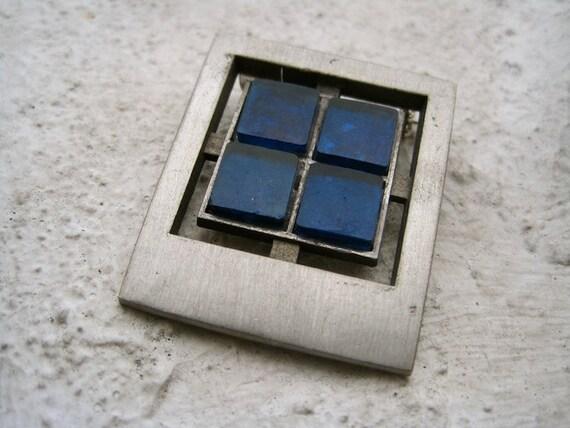 Modernist Brooch: Blue Windows Signed Sweden Artisan Pewter Rectangle with Glass Swedish Modernist