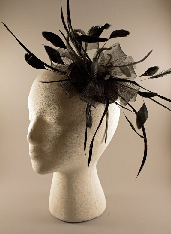 Black Feather and Crinoline Fascinator Headband