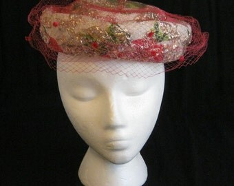Vintage Pink Hat 1940s or 1950s