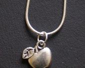 Apple Pendant Necklace- antique silver effect