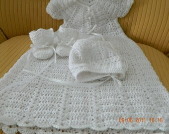 Crochet Baby Christening Set, custom 5 piece,Quality soft baby yarn,sweater/bonnet/gown/blanket/booties/Baptism,FREE USA SHIPPING